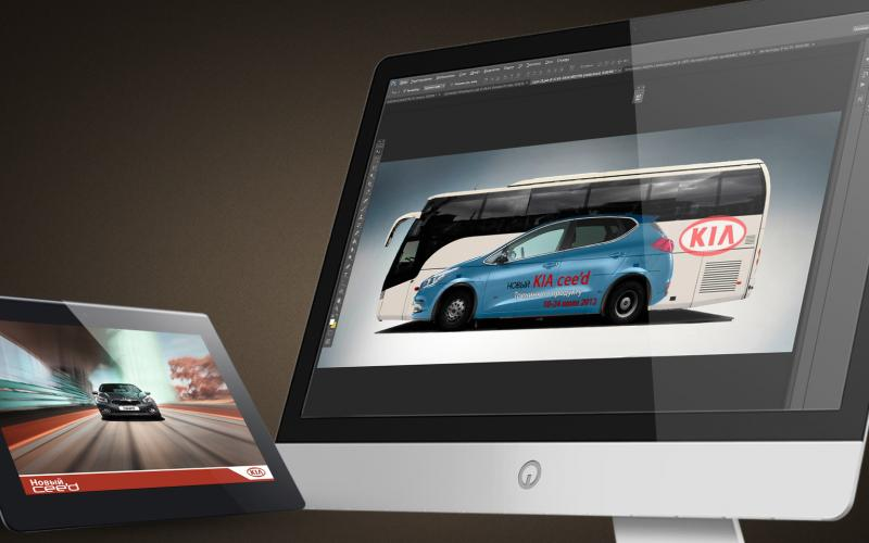 Дизайн наклейки на автобус для презентации Kia Ceed